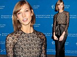 Karlie Kloss sweeps through star-studded Natural History Gala in dramatic lace and satin gown