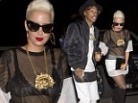 Sheer nerve! Amber Rose displays her bra in sexy see-through top on night out on the town with husband Wiz Khalifa