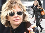 Put a cap on it! Meg Ryan's hair is blasted by the wind as she shops for organic groceries