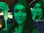 'Sparkling vino and holiday lights!' Jessica Alba gets in the bubbly spirit during family trip to the botanical gardens