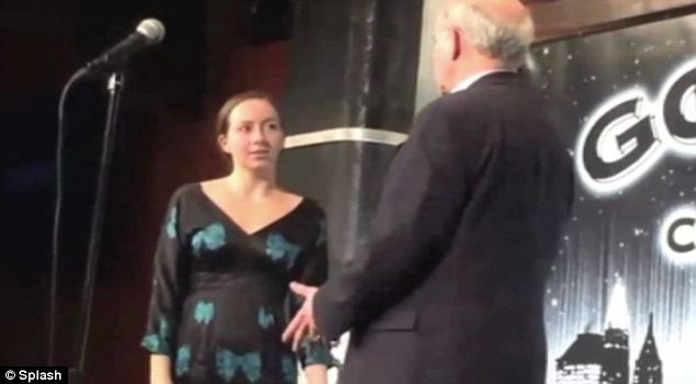Shocker: A woman took the stage at the 9th Annual Andy Kaufman Awards in New York claiming to Kaufman's brother Michael (right) that she was the late actor's daughter and that he is still alive, living in obscurity