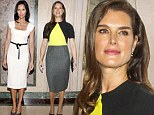 Forty and fabulous! Brooke Shields, 48, and Padma Lakshmi, 43, dazzle in figure-hugging frocks at Power Lunch For Women event