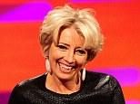 Emma Thompson, pictured during filming of the Graham Norton Show, has lamented the pressure on young actresses to be skinny