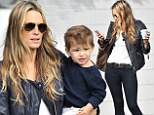 It's all in the jeans: Molly Sims, 40, shows off her still-enviable figure after baby on outing with her two leading men