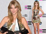 Taylor Swift picks up four awards at the AMAs... and her strapless gold mini-dress is a winner in the style stakes