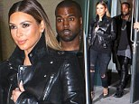 Coordinated couple: Kim Kardashian dons leather biker jacket in New York while fiancé Kanye West opts for matching trousers