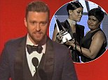 Cringe! Justin Timberlake impersonates Rihanna's mother's Bajan accent during embarrassing AMAs acceptance speech