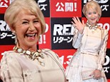 Dame Helen Mirren dazzles (literally) in pretty tea dress and over-sized, bejewelled necklace at Red 2 premiere in Tokyo