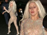 Running out of ideas? Lady Gaga takes inspiration from Britney Spears as she wears a nude, bejwewelled bodysuit after the AMAs