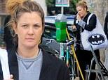 Drew Barrymore with Batman tote leaving yoga class in LA on Saturday