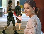 Katie Holmes seen leaving a Yoga class while clutching her mobile phone in Cape Town