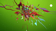 Abstract Colourful 3D Shapes - Green Version