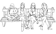 Vector Illustration of Women sitting and waiting on a Bench