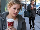 Long night? Hilary Duff revealed her tired eyes as she went make-up free to grab a caffeinated beverage from Starbucks in Los Angeles, California on Monday
