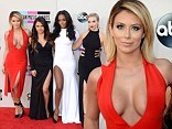 Aubrey O'Day wears yet another cleavage-enhancing dress to AMA Awards with Danity Kane