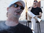 Smoke out: Bill Engvall lit up a fat cigar on Sunday after finishing rehearsal for Dancing With The Stars in Los Angeles