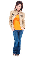 Casual Young Woman in Tan Jacket and Blue Jeans