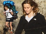 It's almost as big as you! Reese Witherspoon struggles with a HUGE backpack as she continues shooting new movie Wild