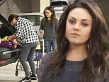 Mila Kunis wears another baggy jumper to bond with her boyfriend Ashton's mother Diane at the grocery store
