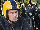 He's a wild one! Olivier Martinez rides chopper in West Hollywood days after car park fender bender