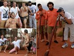 AYERS ROCK, AUSTRALIA - NOVEMBER 26: Graeme Swann, Jonathan Bairstow and Monty Panesar of England pose for a photograph with Wakagetti cultural dancers