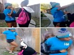In a clip uploaded to Instagram on Tuesday, a girl called Sharkeisha is seen sucker-punching a girl in the face before kicking her in the head as she lies on the ground.