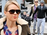 Too cold to cycle? Naomi Watts and Liev Schreiber ditch their beloved bikes for a cab ride in NYC with adorable boys Sasha and Kai
