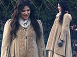 She's blooming lovely! Ginnifer Goodwin reveals her pregnancy figure for the first time as she wears extravagant costumes to film alongside fiance Josh Dallas