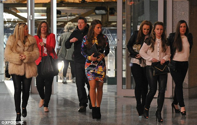 Here come the girls: Coleen was joined at the gig by a group of very glamorous female friends