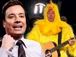 Jimmy Fallon dresses up as a chicken during a humorous visit to Jennifer Aniston's favorite charity