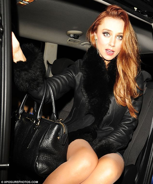 Cosy: Una Healy wore a warm fur-trimmed winter coat as she left the event