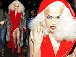 Over exposure! Rita Ora flashes her knickers as she attends her 70's themed birthday party in a revealing red gown