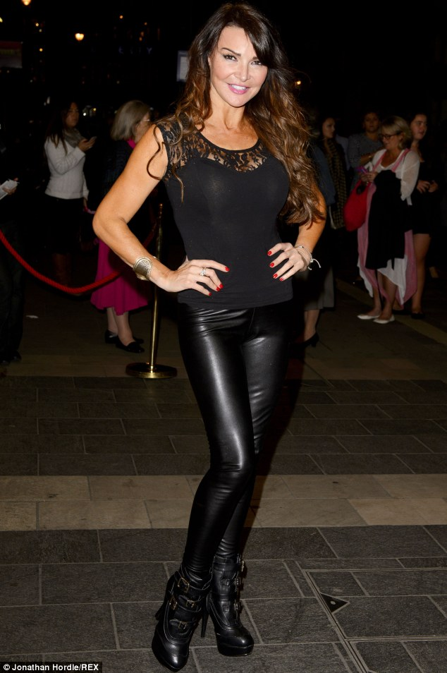 Ice queen: Lizzie Cundy arrives at the premiere night of The Nutcracker on Ice wearing leather trousers and high heeled ankle boots