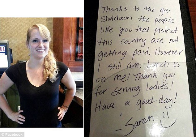 Lunch is on her: Sarah Hoidahl and the note she left two soldiers who sat down to eat at the restaurant she waitresses at