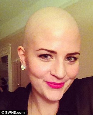 (L) Laura pictured on the morning before she had her head shaved and (R) after