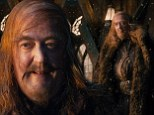 Sneak peek: Stephen Fry is unrecognisable in ginger comb-over wig and wispy beard as the Master Of Lake-town in new Hobbit stills