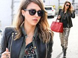 Jessica Alba wears baggy patterned trousers to the office on Tuesday afternoon