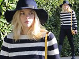 Striped delight: Jaime King shows off her super slender post-baby body in chic black and white outfit