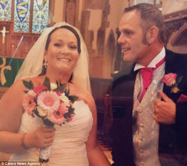 Mrs Barrett (pictured with Tim on their wedding day) was left with saggy skin when she lost nine stone after gastric bypass surgery