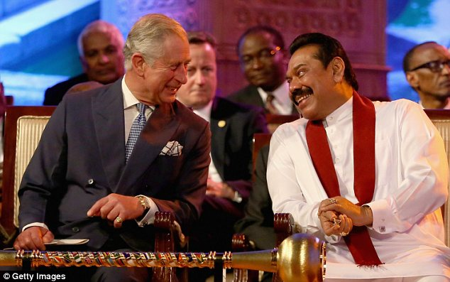 Jovial: President Mahinda Rajapaksa of Sri Lanka laughs with Prince Charles, Prince of Wales as David Cameron looks on during the Commonwealth Heads of Government 2013 Opening Ceremony on Friday