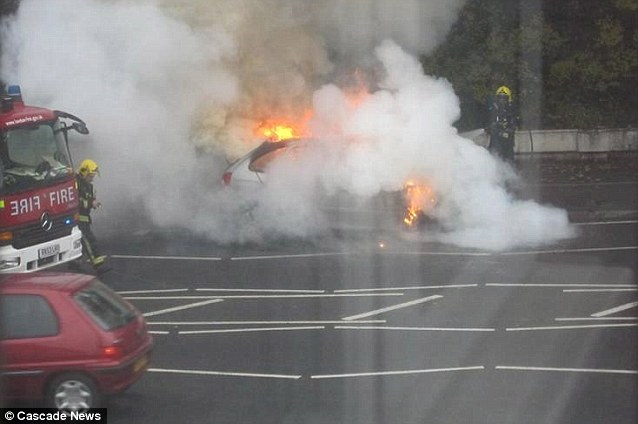 Fire fighters were able to put out the blaze on the A217 near St Dunstan's Hill in Surrey yesterday morning