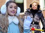Muff said! Fluffy ear-warmers are the order of the day as Ariana Grande and Megan Hilty endure the cold at Macy's Parade