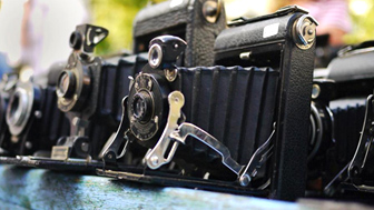 Old cameras at a second-hand sale