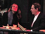Al fresco dining: Trinny and Saatchi enjoy their dinner outside in the fresh air