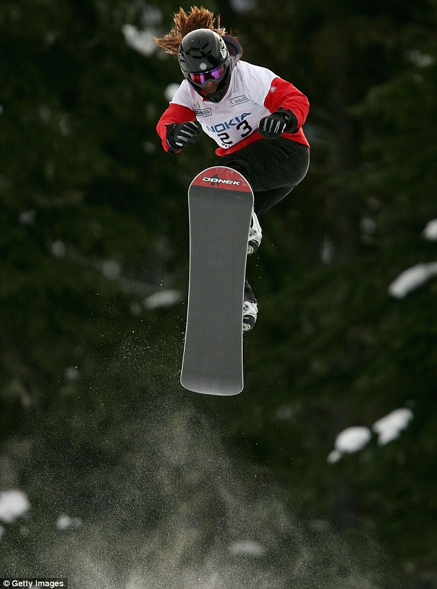 Catching some air: Gillings during the Snowboard Cross Qualifying during the 2005 FIS World Championships on in Canada