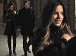 Kate Beckinsale and Daniel Brühl sport sombre black outfits to film their investigative roles in Amanda Knox movie