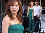 She¿s still got it: Jennifer Lopez shows off her famous curves in a clingy green maxi dress as she shoots scenes with hunky co-star Ryan Guzman for her new film