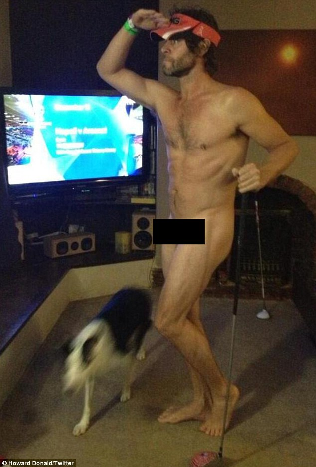 We'll Never Forget that picture! Howard Donald posted an image of himself totally nude on his Twitter page on Wednesday night as he enjoyed an evening rooting around in his friend's fancy dress box