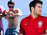 Revenge is dish best served hot for Josh Bowman as he strips to reveal his toned physique in sunny Rio
