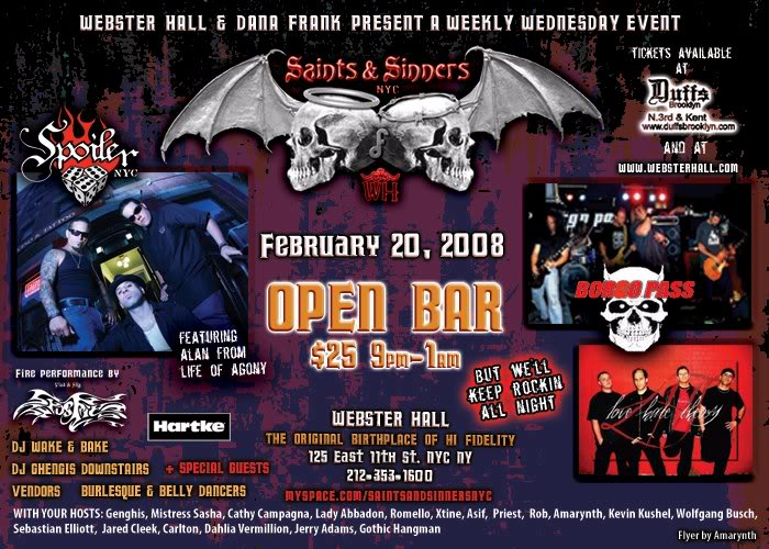 Webster Hall - SAINTS and SINNERS - Feb. 20 2008